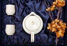 有金黄花的茶壶 免版税库存照片