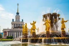 有金黄雕塑的喷泉 友谊人特写镜头, ENEA, VDNH, VVC 莫斯科,俄罗斯 库存照片