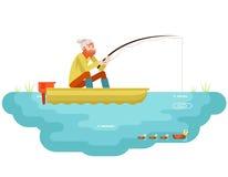 有钓鱼竿小船鸟概念字符象平的设计模板传染媒介的湖边钓鱼成人渔夫 免版税库存图片
