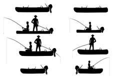 有钓鱼者的可膨胀的小船 皇族释放例证