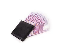 有钞票的钱包 库存照片