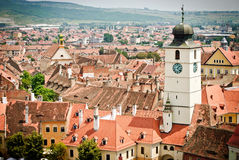 有钟楼的中世纪镇 图库摄影
