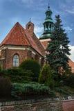 有钟楼的哥特式修道院教会 免版税库存照片