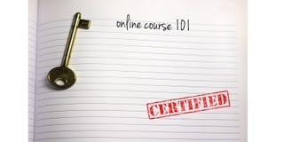 有钥匙和文本网上路线的101笔记本与certi 免版税库存图片