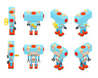 有钥匙的等量蓝色玩具机器人在后面 免版税图库摄影