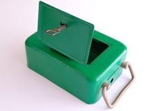 有钥匙的老保险柜 免版税库存图片