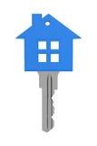 有钥匙的蓝色房子 向量例证