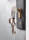 有钥匙的门锁 库存图片