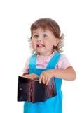 有钱包的女孩 免版税库存照片