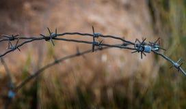 有铁丝网的篱芭在被弄脏的背景 特写镜头 库存照片