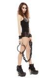 有铁链子的女孩 免版税库存图片