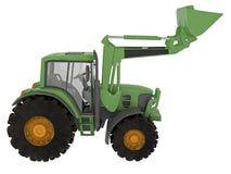 有铁锹的现代绿色拖拉机 库存照片