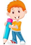 有铅笔的动画片小男孩 库存照片