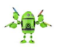 有铅笔的四武装的3d机器人 多任务概念 查出 包含裁减路线 免版税库存照片