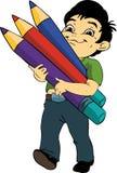 有铅笔的男孩 免版税库存图片
