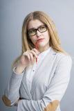 有铅笔的年轻女商人 免版税图库摄影