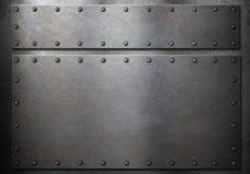 有铆钉的两个金属板金属化背景3d例证 库存图片