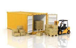 有铲车拿着纸板bo的堆货机装载者的打开容器 图库摄影