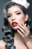有银卷毛和面纱的典雅的美丽的女孩 冬天图象 秀丽表面 生动描述采取在灰色背景的演播室 免版税库存图片