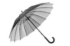 有银色内部的黑伞在白色 库存照片