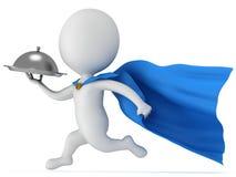 有银色盘子的勇敢的超级英雄侍者 库存图片
