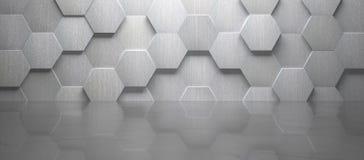 有铺磁砖的墙壁和大理石地板的3d空的室回报 库存例证