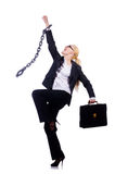 有链子的女实业家 免版税库存图片