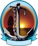 有链子的船锚 免版税库存照片