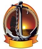 有链子的船锚 免版税库存图片