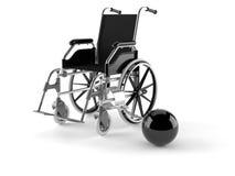 有链子的轮椅 免版税库存图片