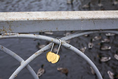 有锁的桥梁 彼得罗扎沃茨克俄罗斯2015年10月18日 免版税库存图片
