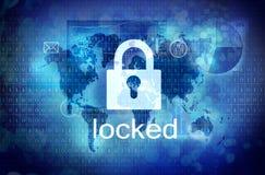 有锁着的挂锁的屏幕 免版税库存照片