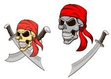 有锋利的军刀的海盗头骨 向量例证