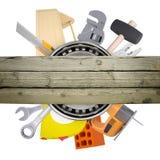 有锤子的手工具在白色 库存照片