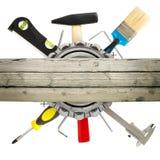 有锤子的手工具 免版税库存图片