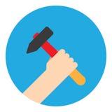有锤子的标志手 免版税图库摄影