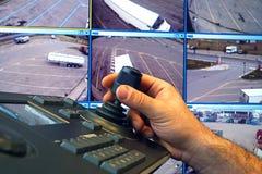 有键盘和控制杆的安检室去除照相机 免版税库存图片