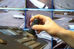 有键盘和控制杆的安检室去除照相机 免版税库存照片