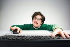有键盘的疯狂的人 免版税图库摄影