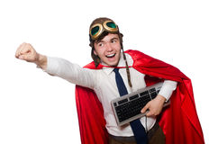 有键盘的滑稽的英雄 库存照片