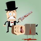 有锯的不熟练的魔术师 免版税库存照片