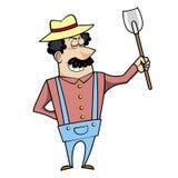 有锹的动画片园丁 免版税库存图片