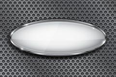 有镀铬物框架的卵形白色按钮 3d在金属穿孔的背景的象 皇族释放例证
