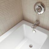 有镀铬物龙头的新的现代卫生间 免版税图库摄影