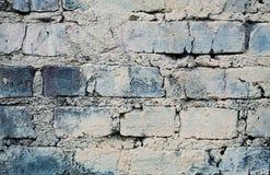 有镇压和磨损的,都市顶楼背景蓝色砖墙 免版税库存图片
