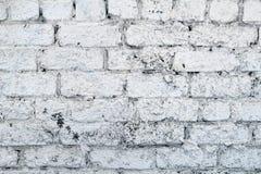 有镇压的老白色混凝土墙 免版税库存照片