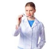 有镜片的妇女医生 库存图片