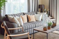 有镶边枕头的现代客厅在一个偶然沙发 免版税库存图片