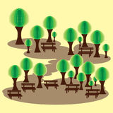 有长凳和抽象绿色发辫的Eco公园 免版税图库摄影
