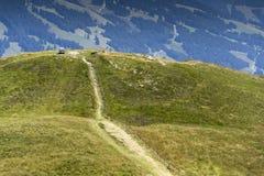 有长凳的人们在田园诗夏天环境美化与阿尔卑斯山在奥地利 免版税库存图片